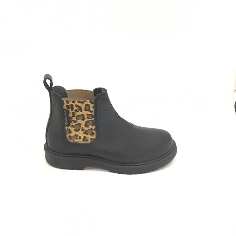 Naturino Black Bootie with Leopard Print Elastic Side Panel