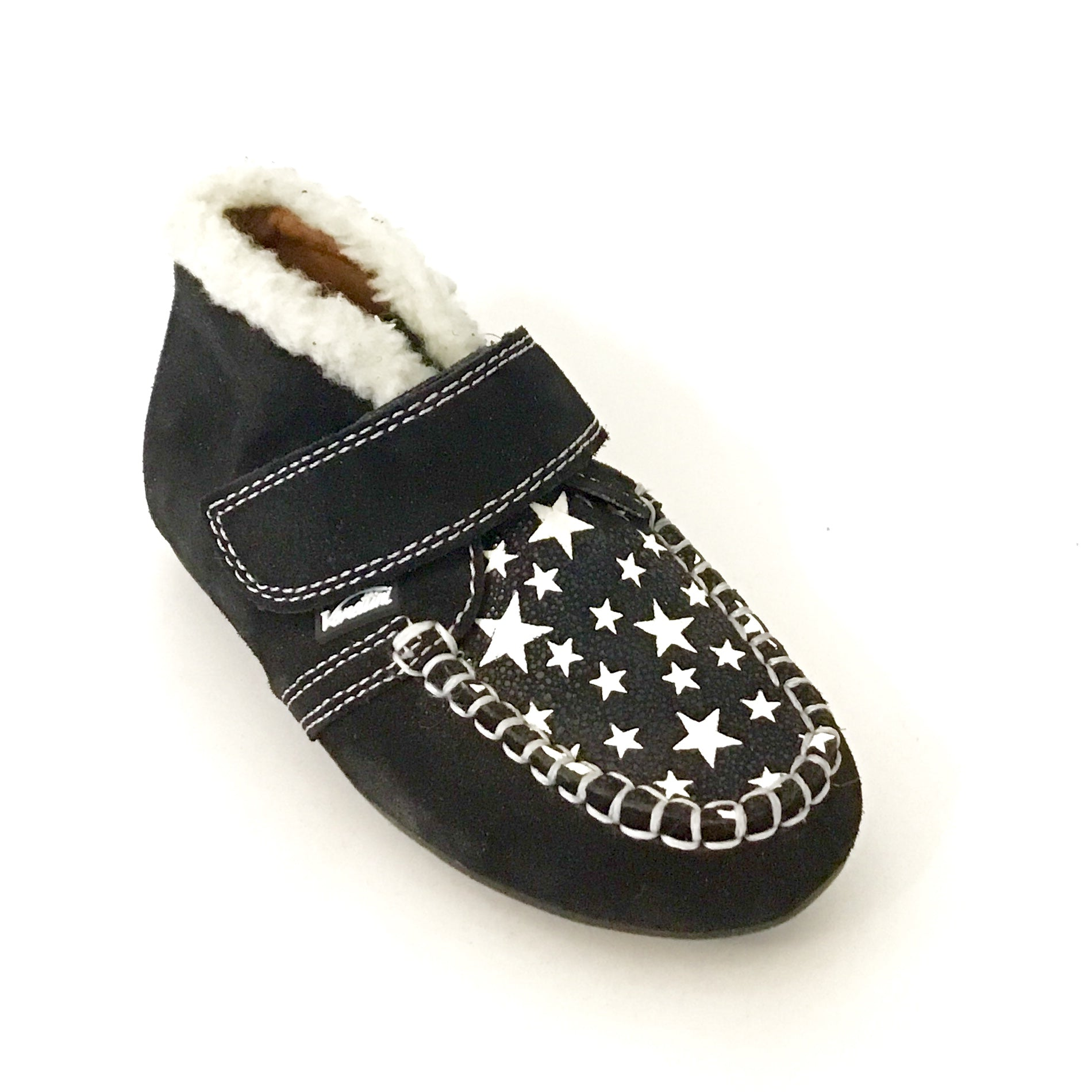 Venettini Black Suede Velcro Shoe with Stars