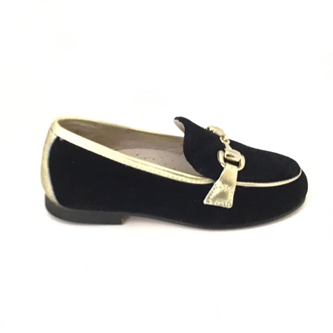 Hoo Black Velvet/Gold Chain Loafer