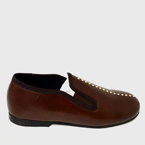 Luccini Brown Slip On with Gold Studs Center
