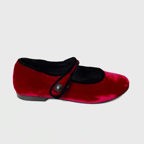 Luccini Red Suede Mary Jane with Black Velvet Trim