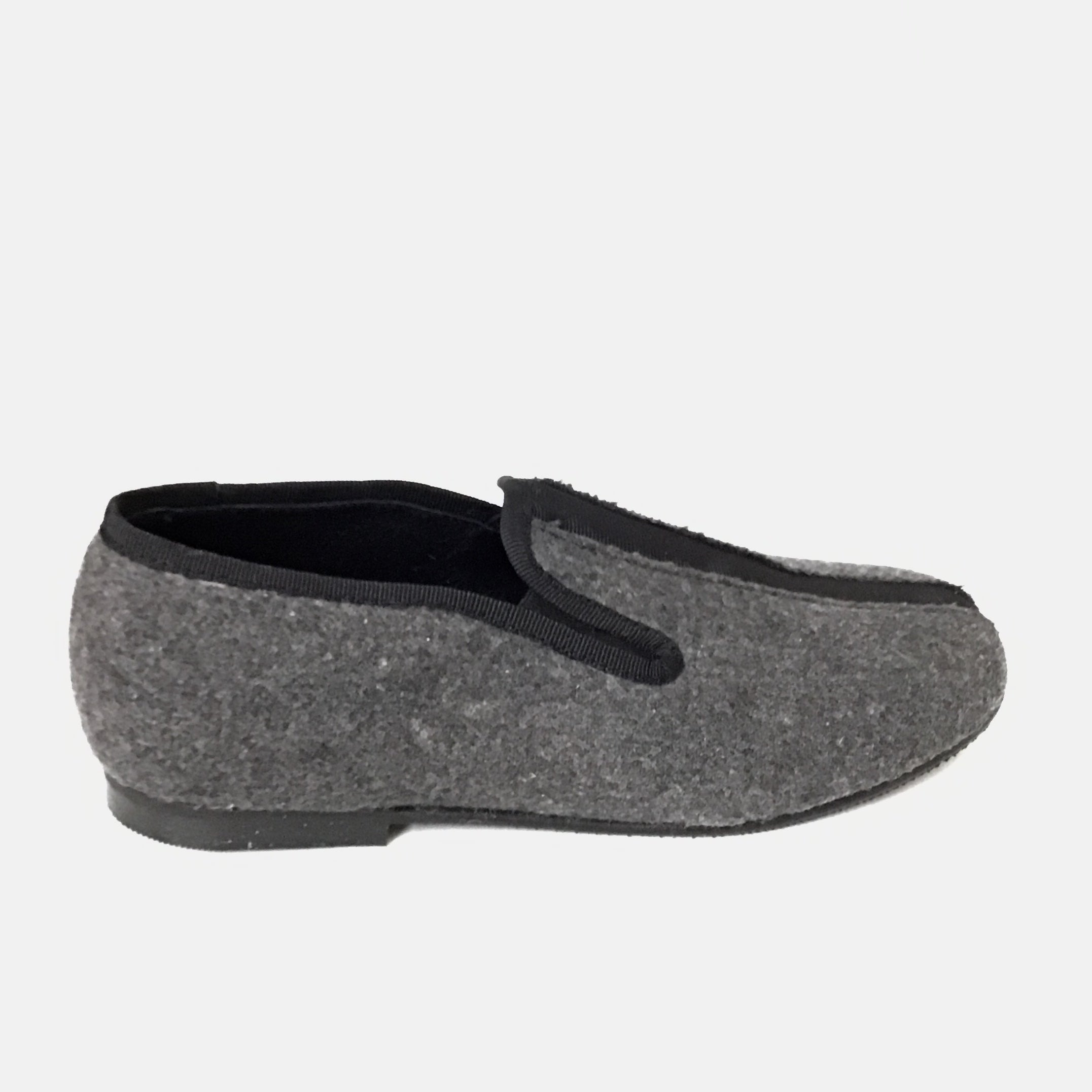 Luccini Gray Flannel Slip On with Black Grossgrain Center
