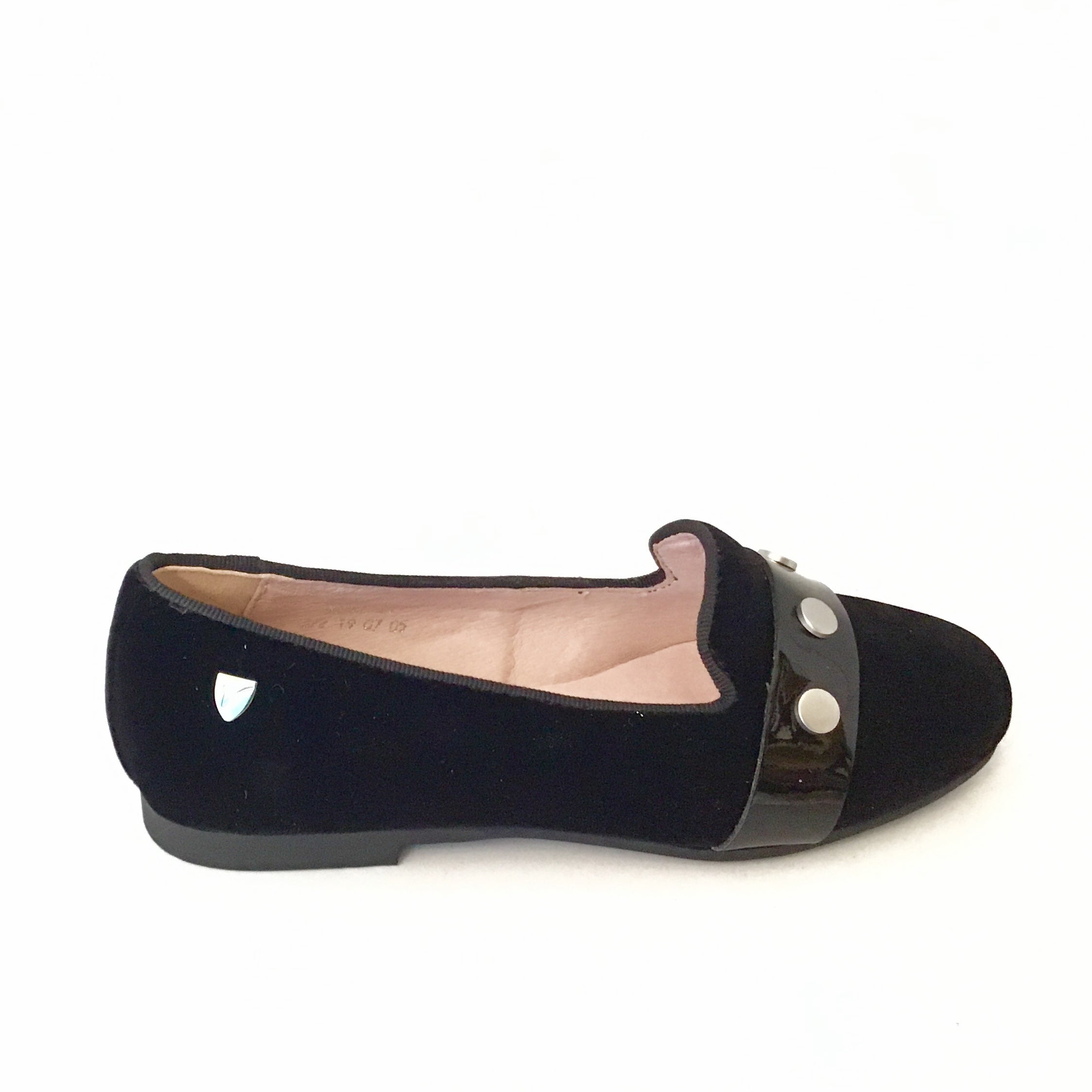 Venettini Black Velvet Slip On with Buttons