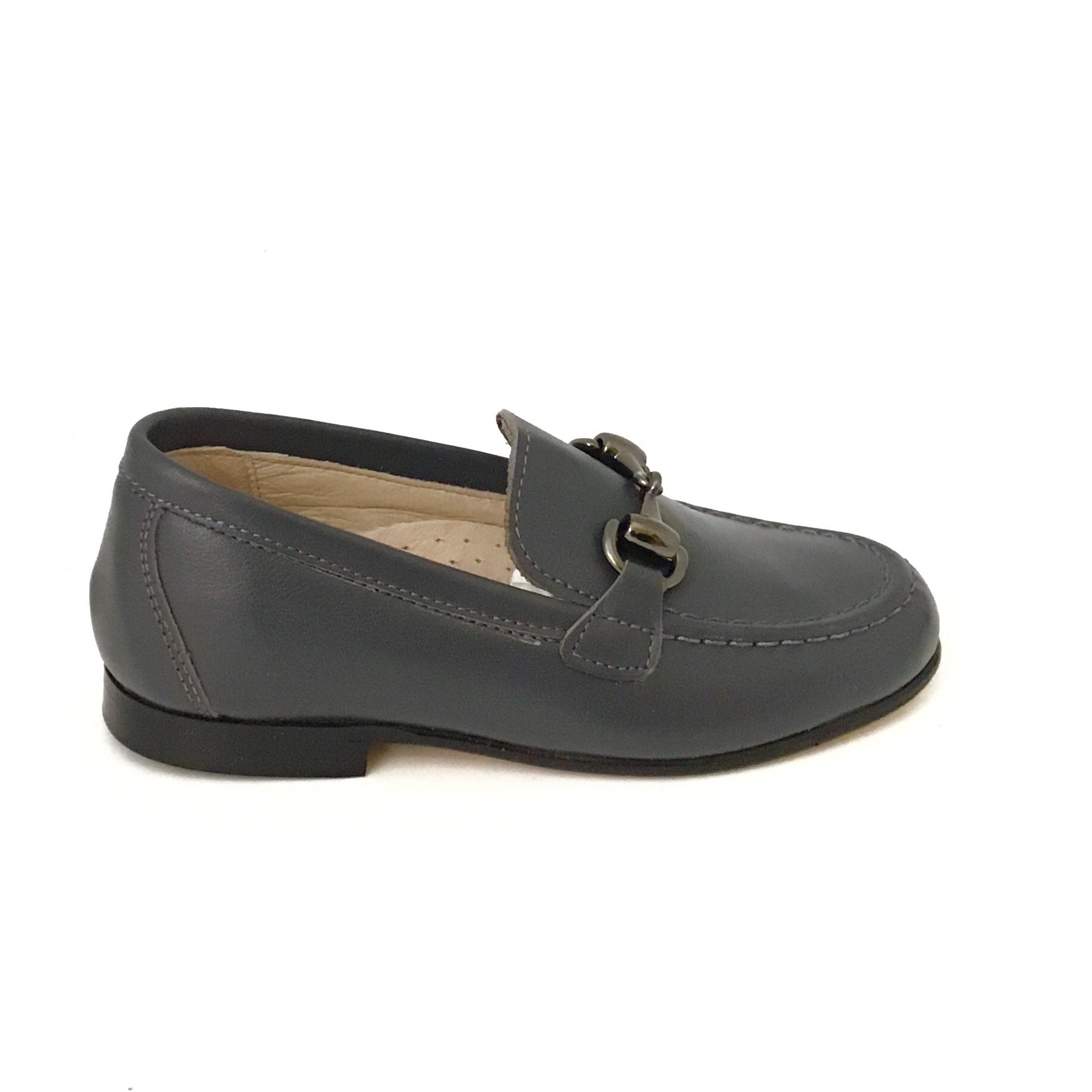 Hoo Gray Leather Slip On with Chain