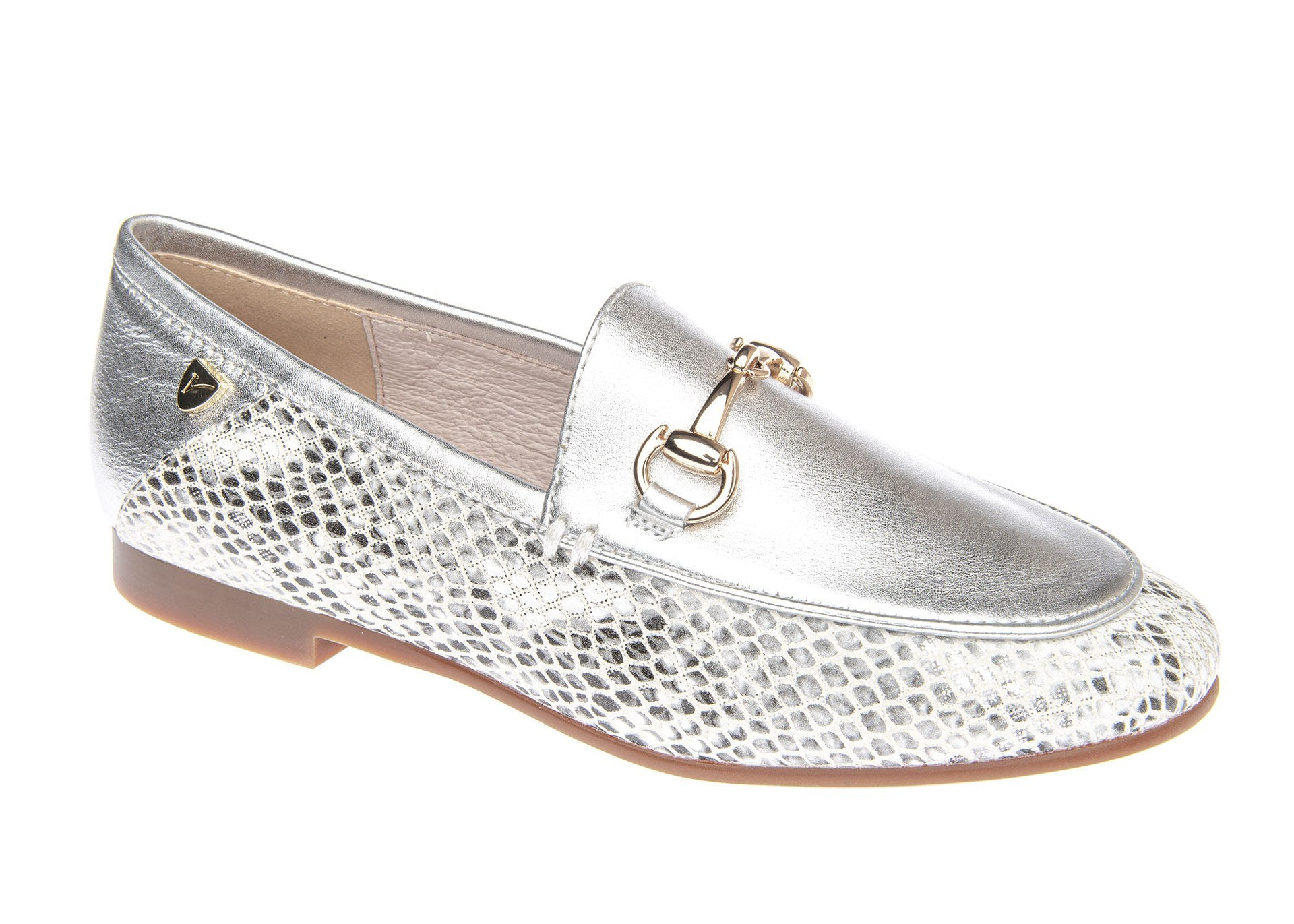 Venettini Silver/Snakeskin Loafer with Chain