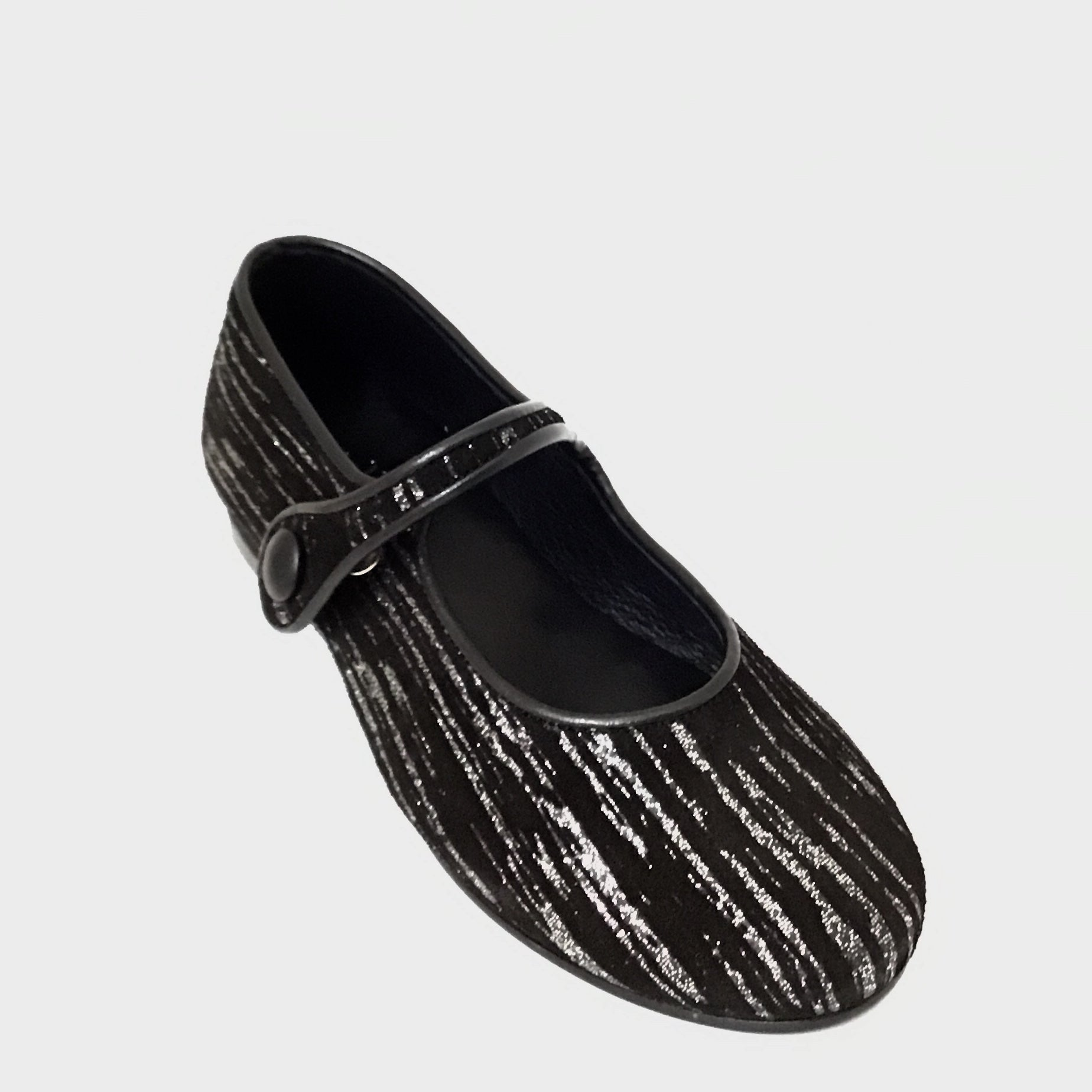 Luccini Black Suede Mary Jane with Silver Streaks