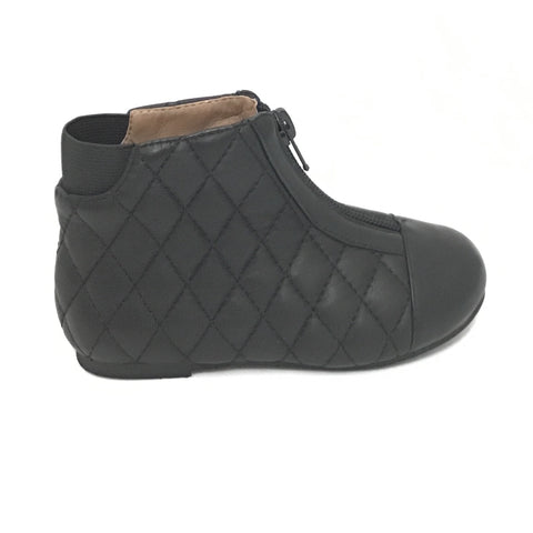 Age of Innocence Black Quilted Zip Bootie