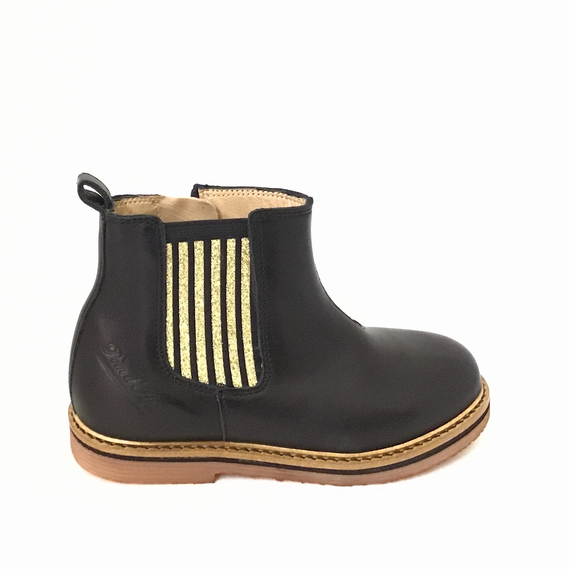 Pom D Api Black Bootie with Gold Elastic
