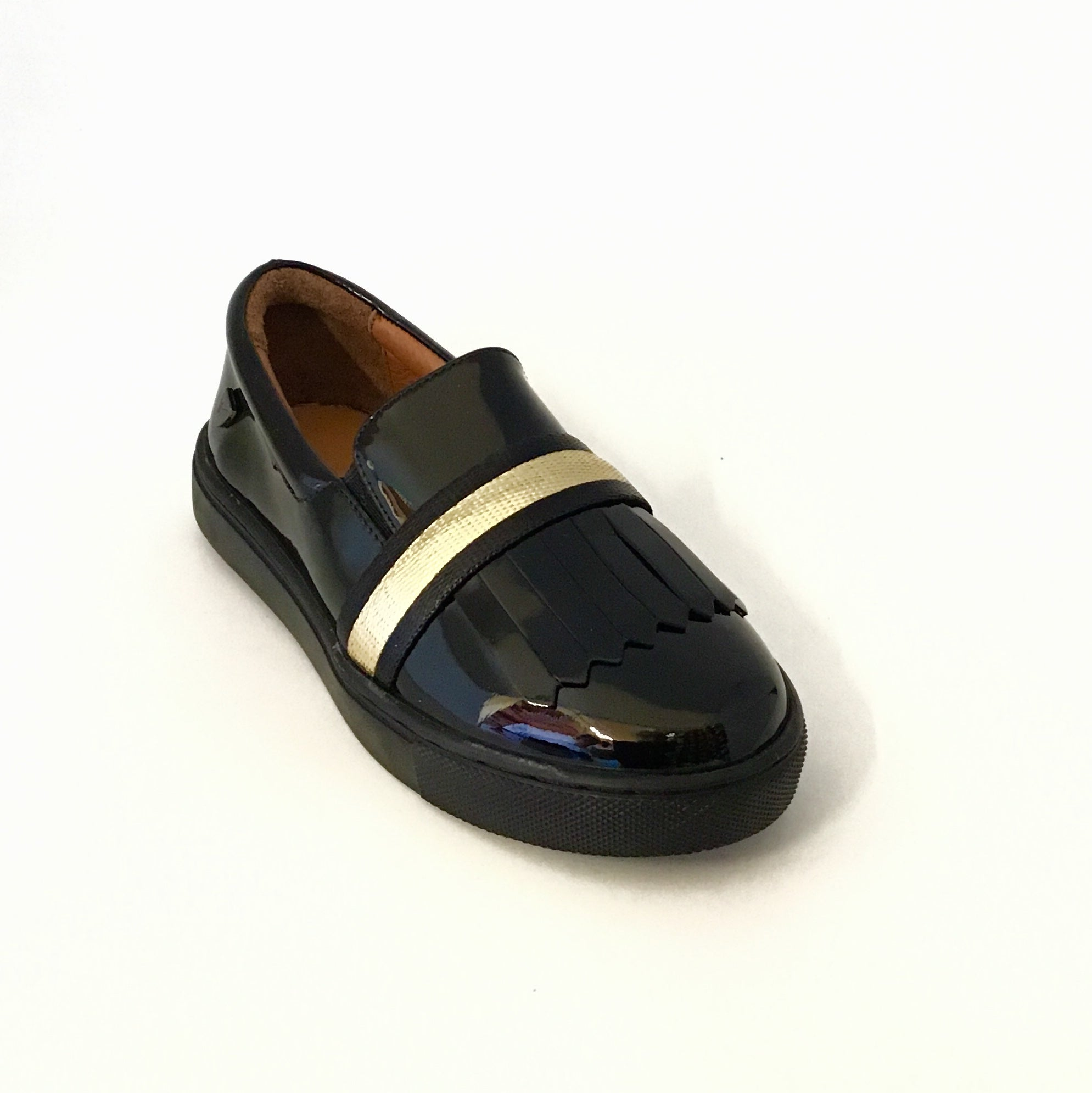 Venettini Black Patent Sneaker With Gold Band