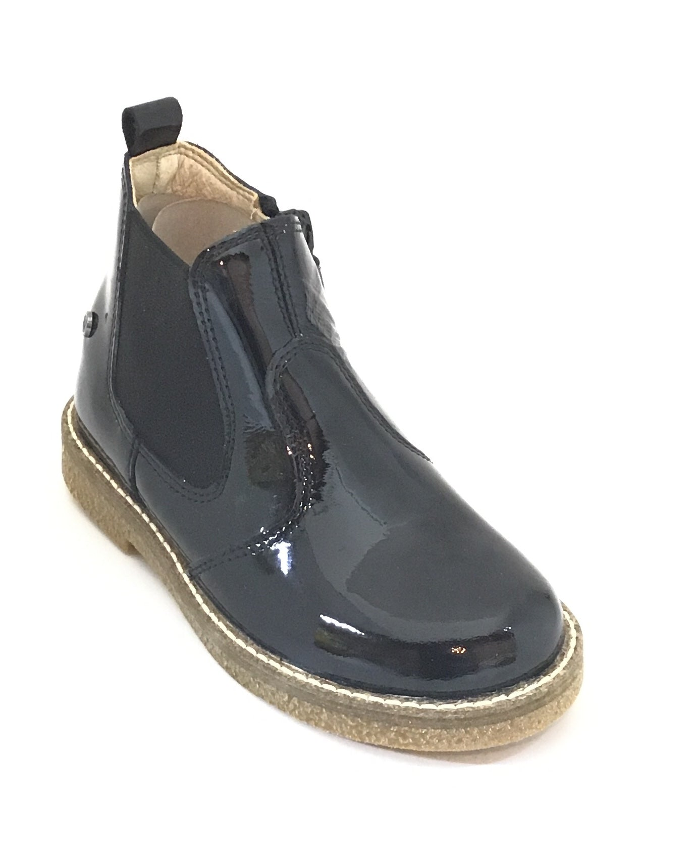 Naturino Black Patent Boot with Beige Sole