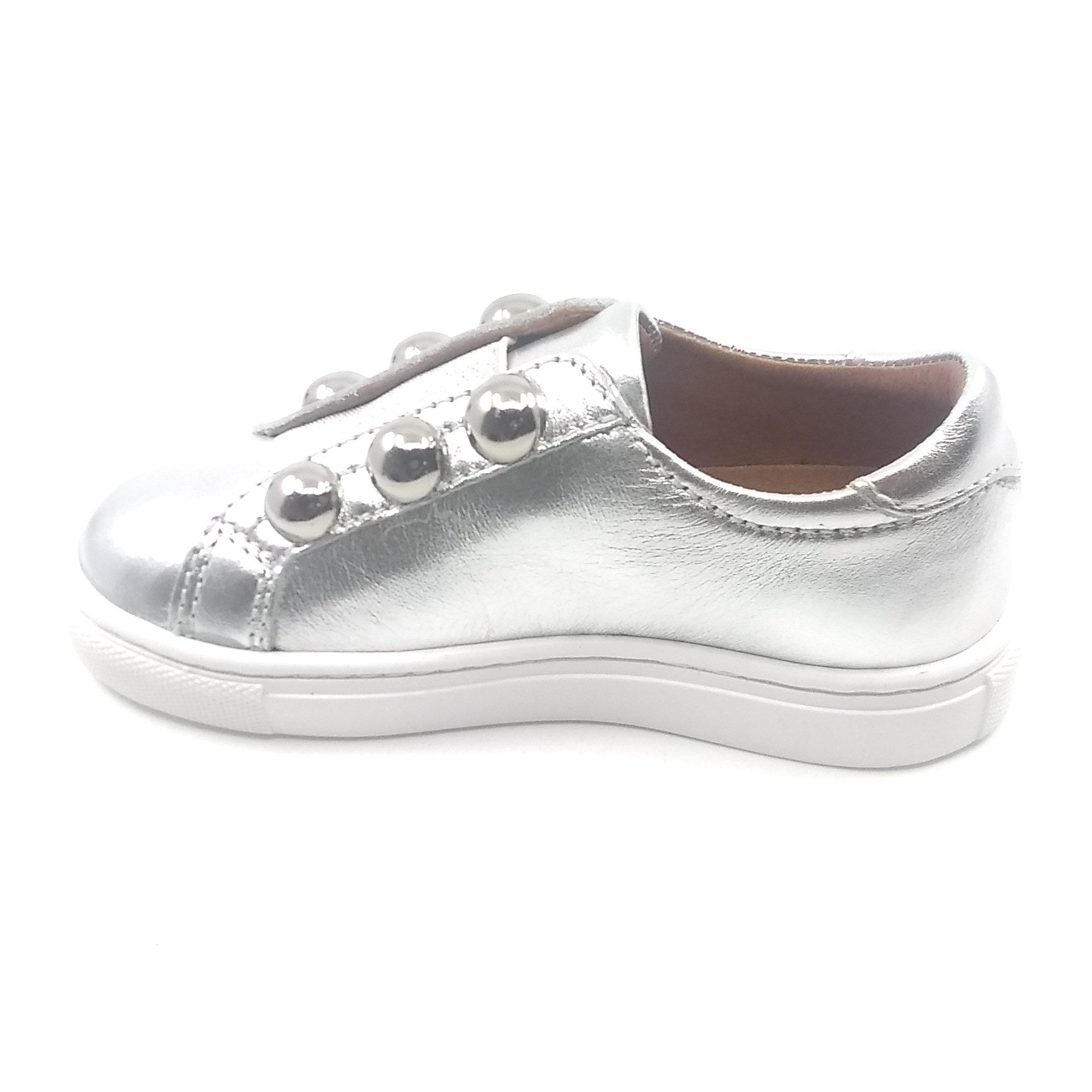 Atlanta Mocassin Silver Sneaker with Studs