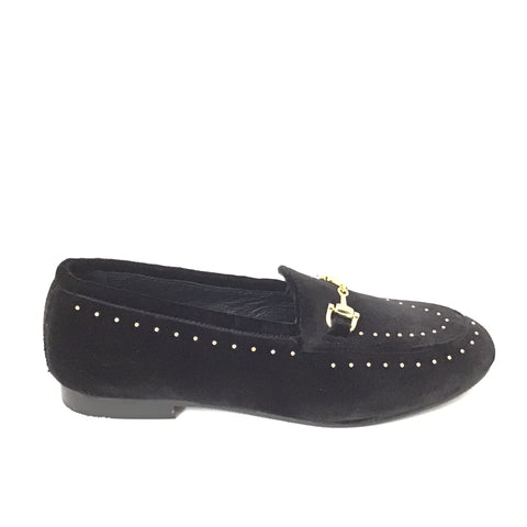 Luccini Black Suede Slip On with Gold Studs and Gold Buckle