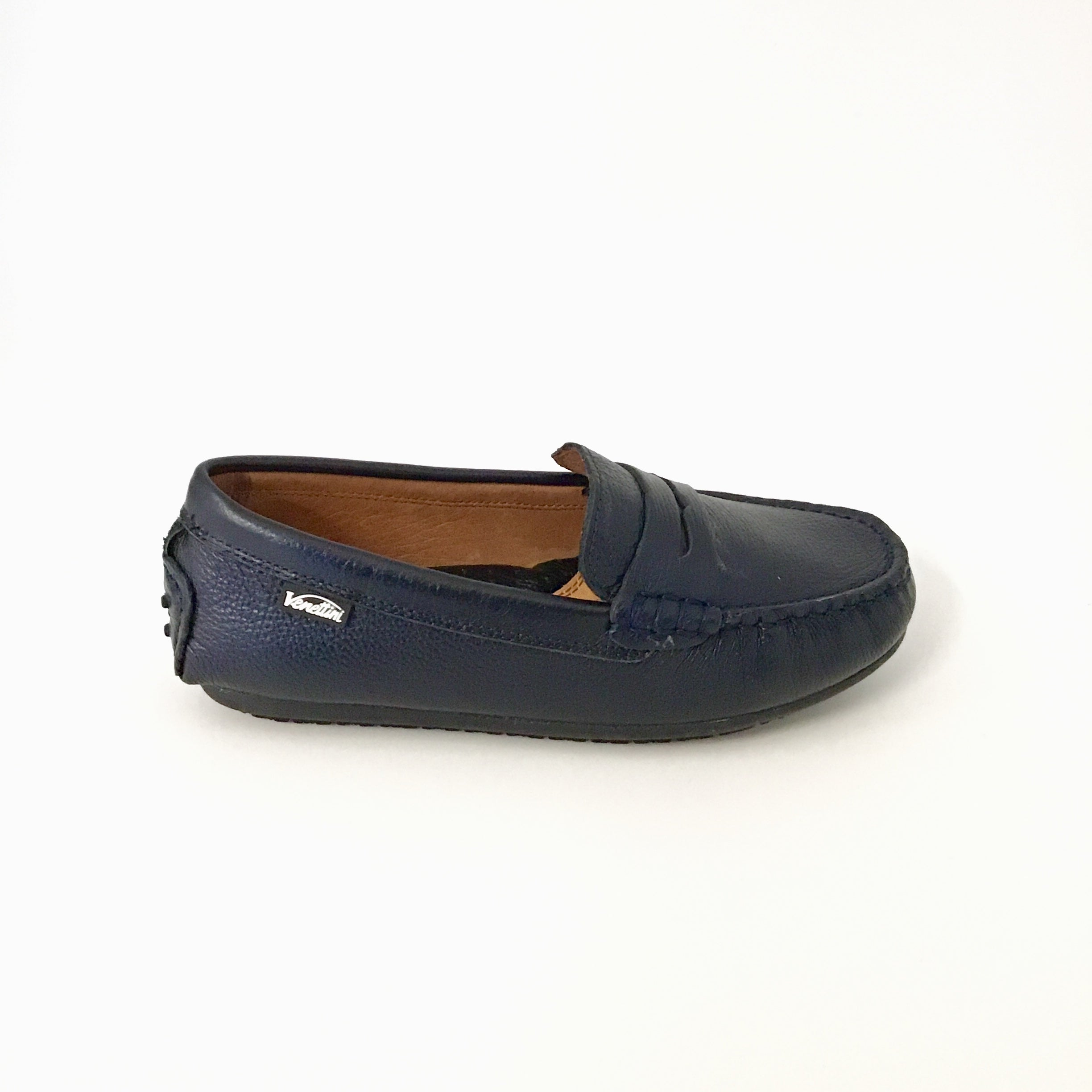 Navy Textured Penny Loafer