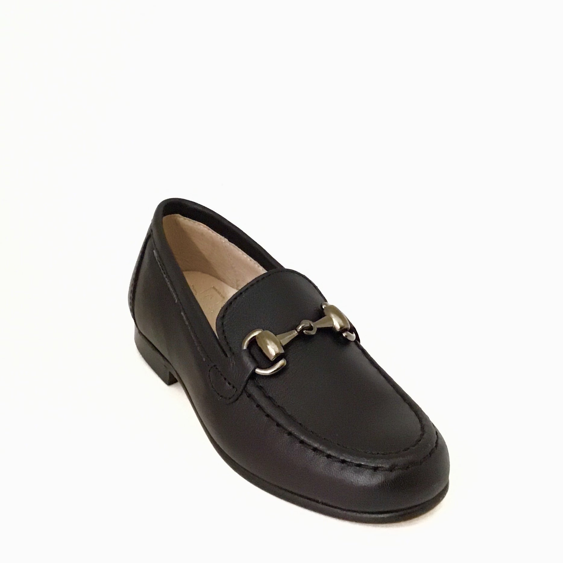 Hoo Black Leather Slip On with Chain