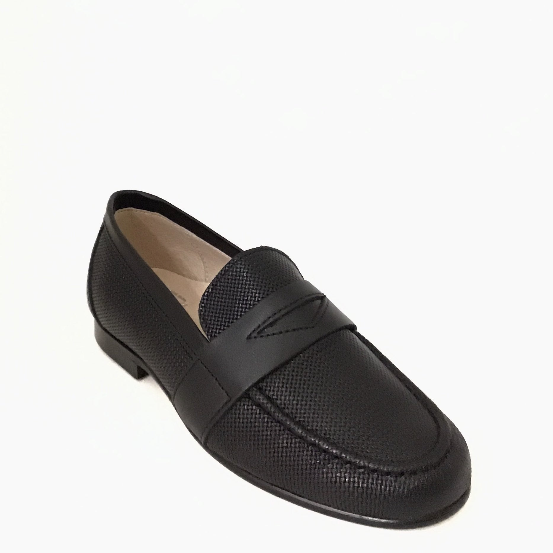 Hoo Black Textured Penny Loafer