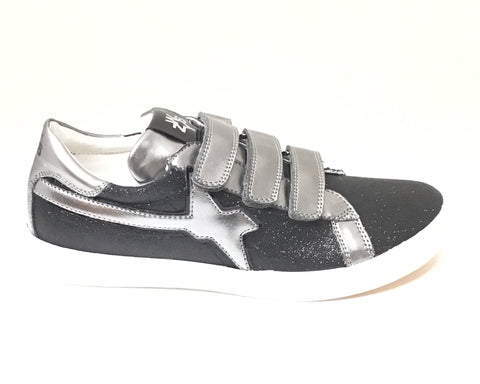 Naturino Black Glitter Shoe With Grey Design