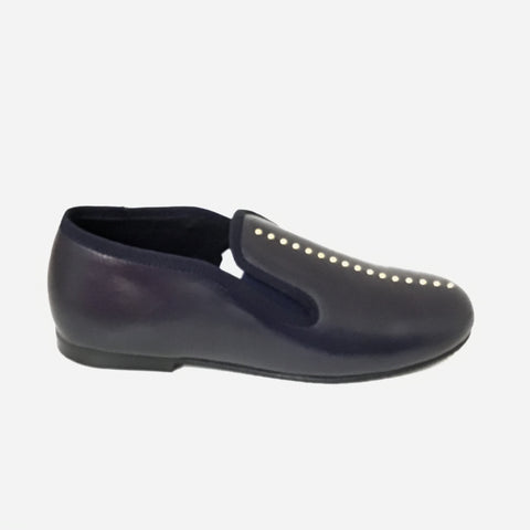 Luccini Blue Slip On with Gold Studs Center