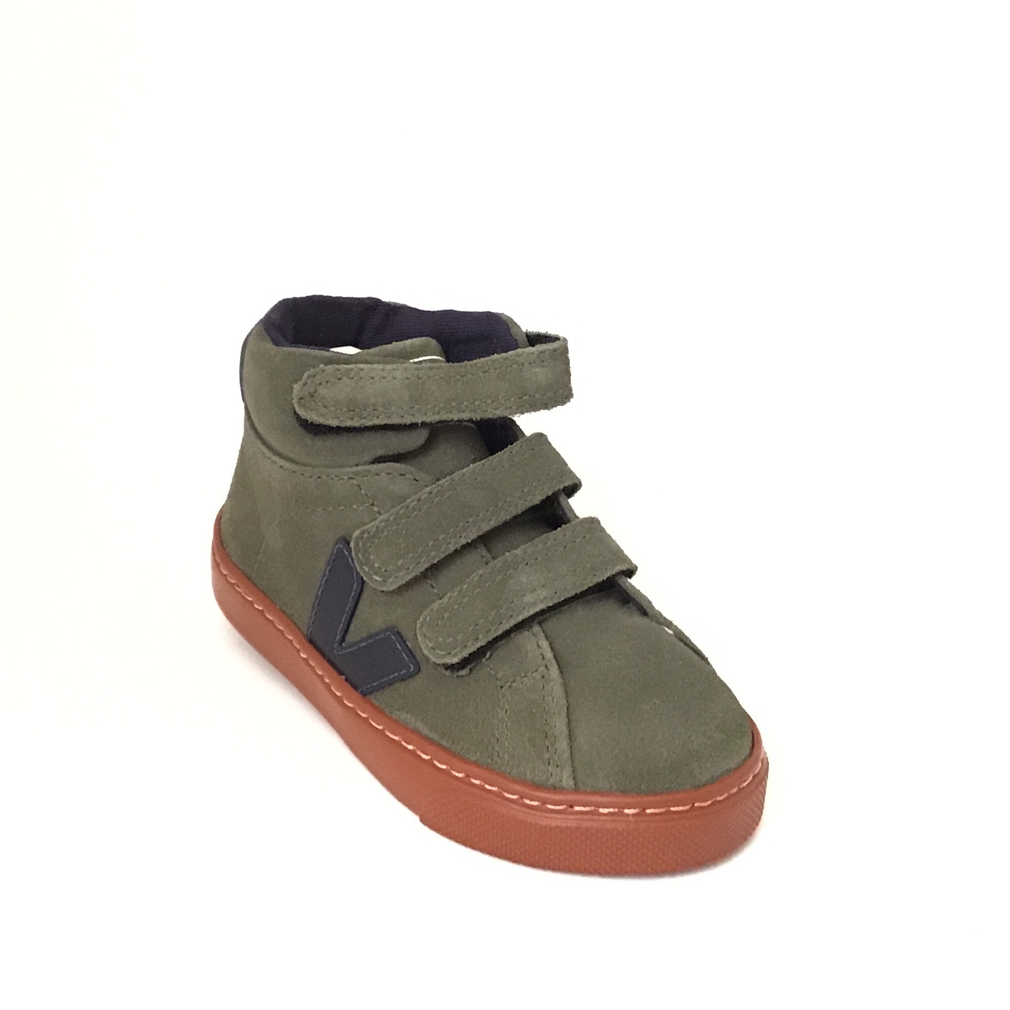 Veja Olive Green Hi Top Sneaker with Rust Color Sole