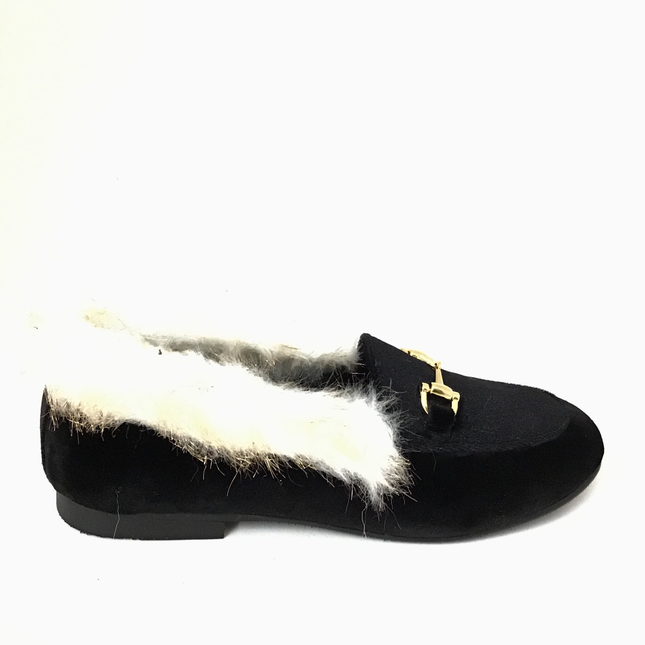 Luccini Black Velvet Slip On with Fur and Chain