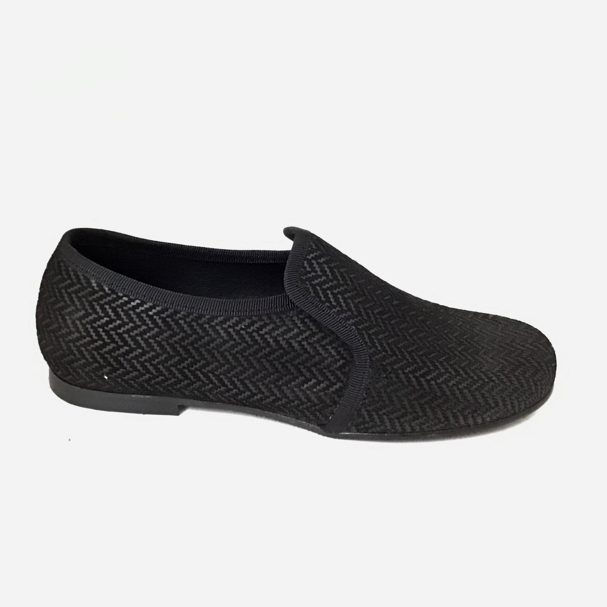 Luccini Black Suede Herringbone Slip On