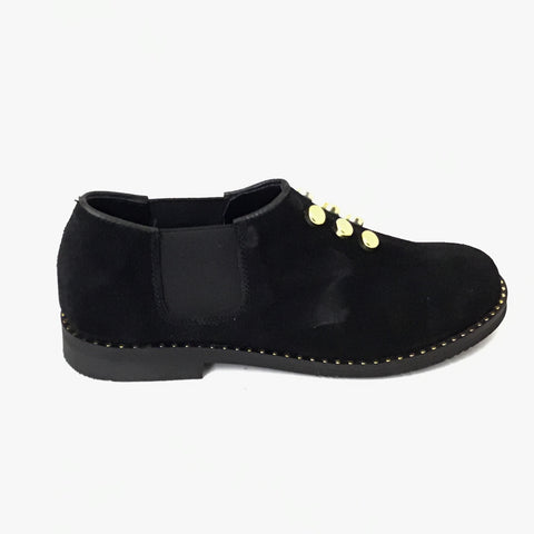 Luccini Black Suede Slip On with Gold Studs