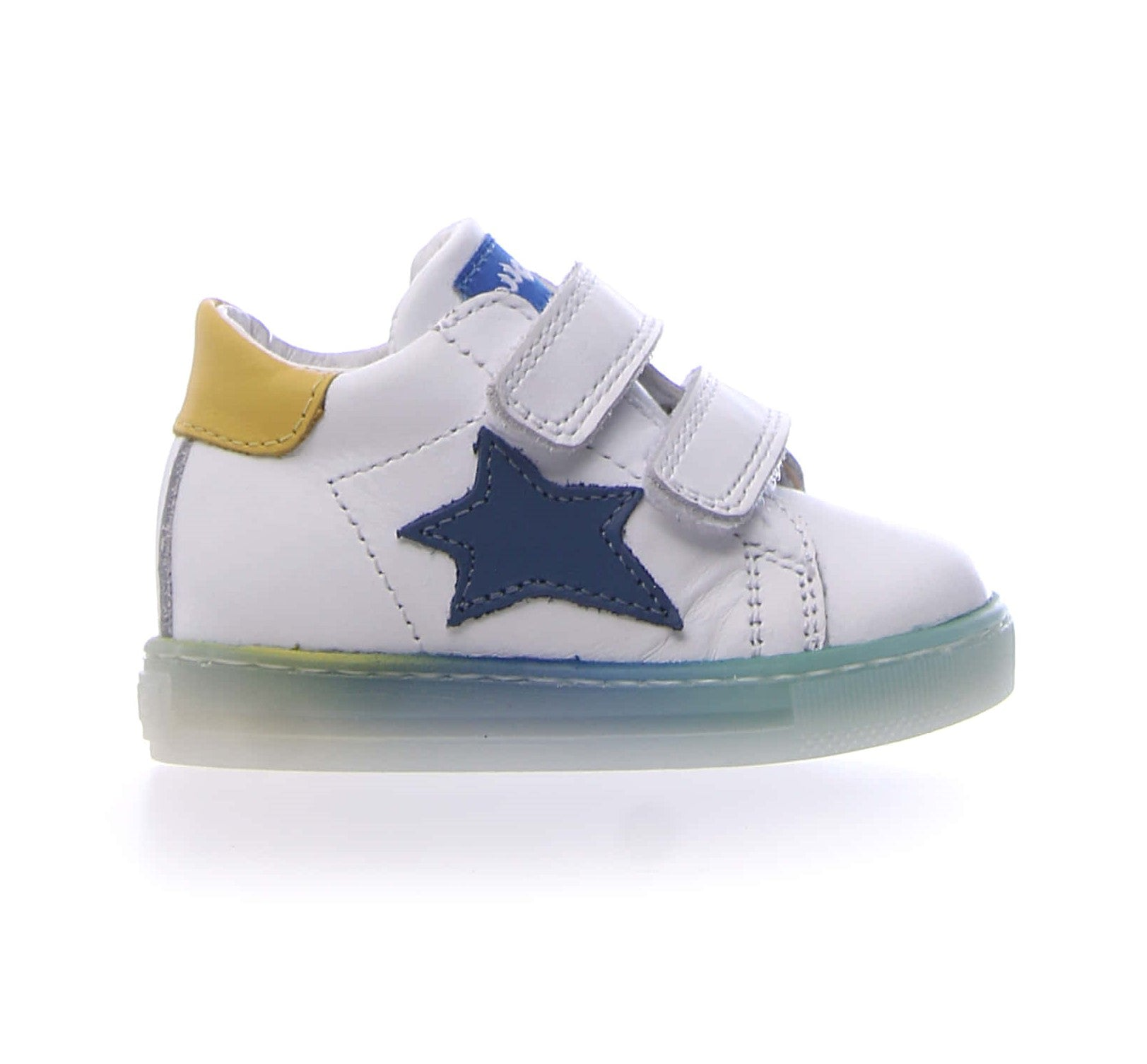 Falcotto White High Top Sneaker with Yellow Trim and Blue Star