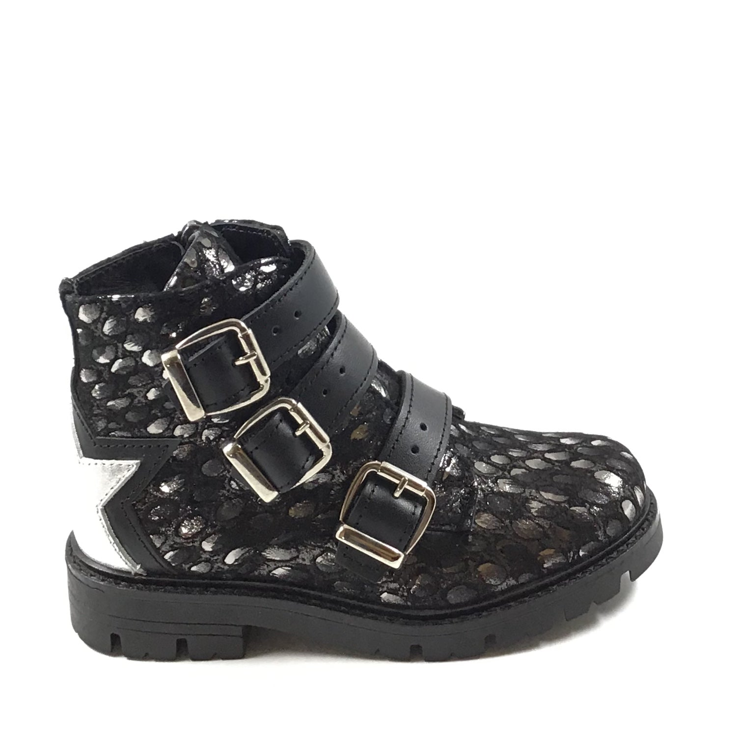 Papanatas Black Three Strap Print Bootie