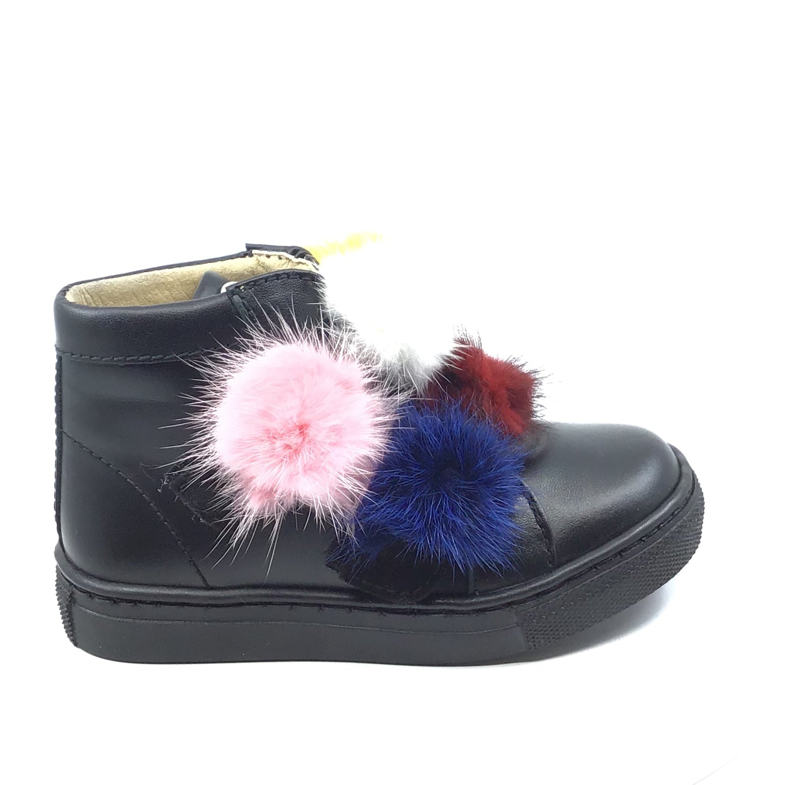 Papanatas Black Leather Sneaker With Pompoms