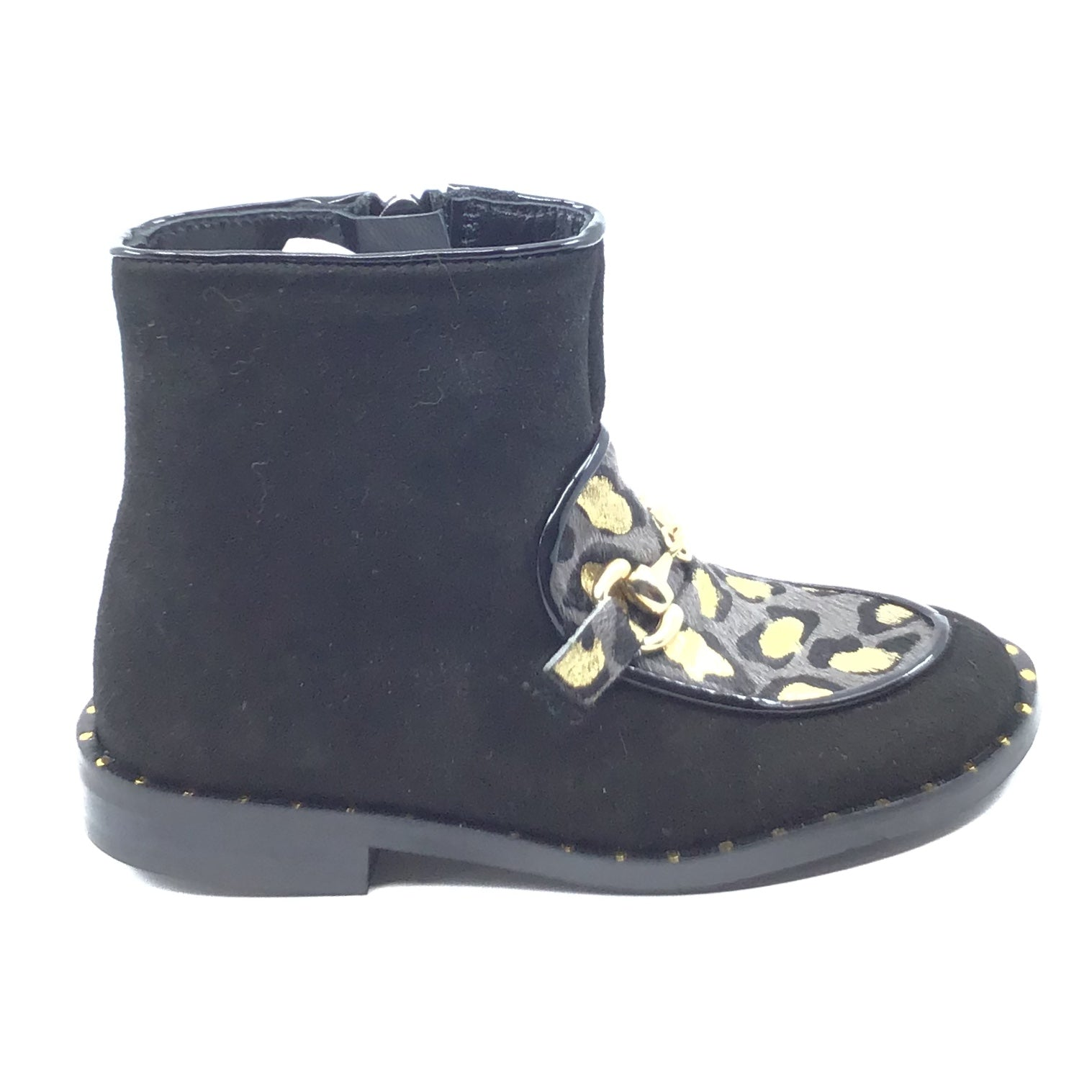 Papanatas Black Leopard Print Bootie With Chain