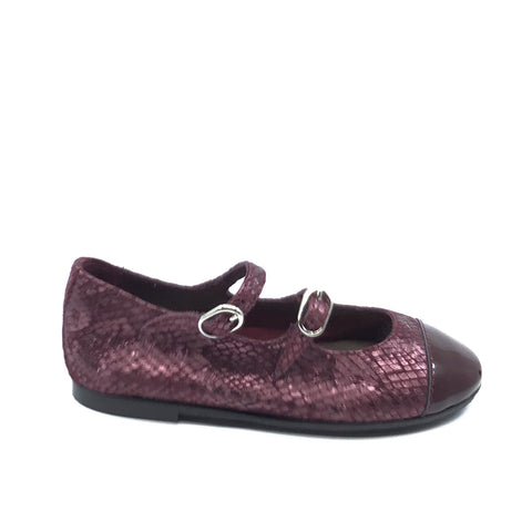 Papanatas Bordeaux Double Strap With Patent Toe