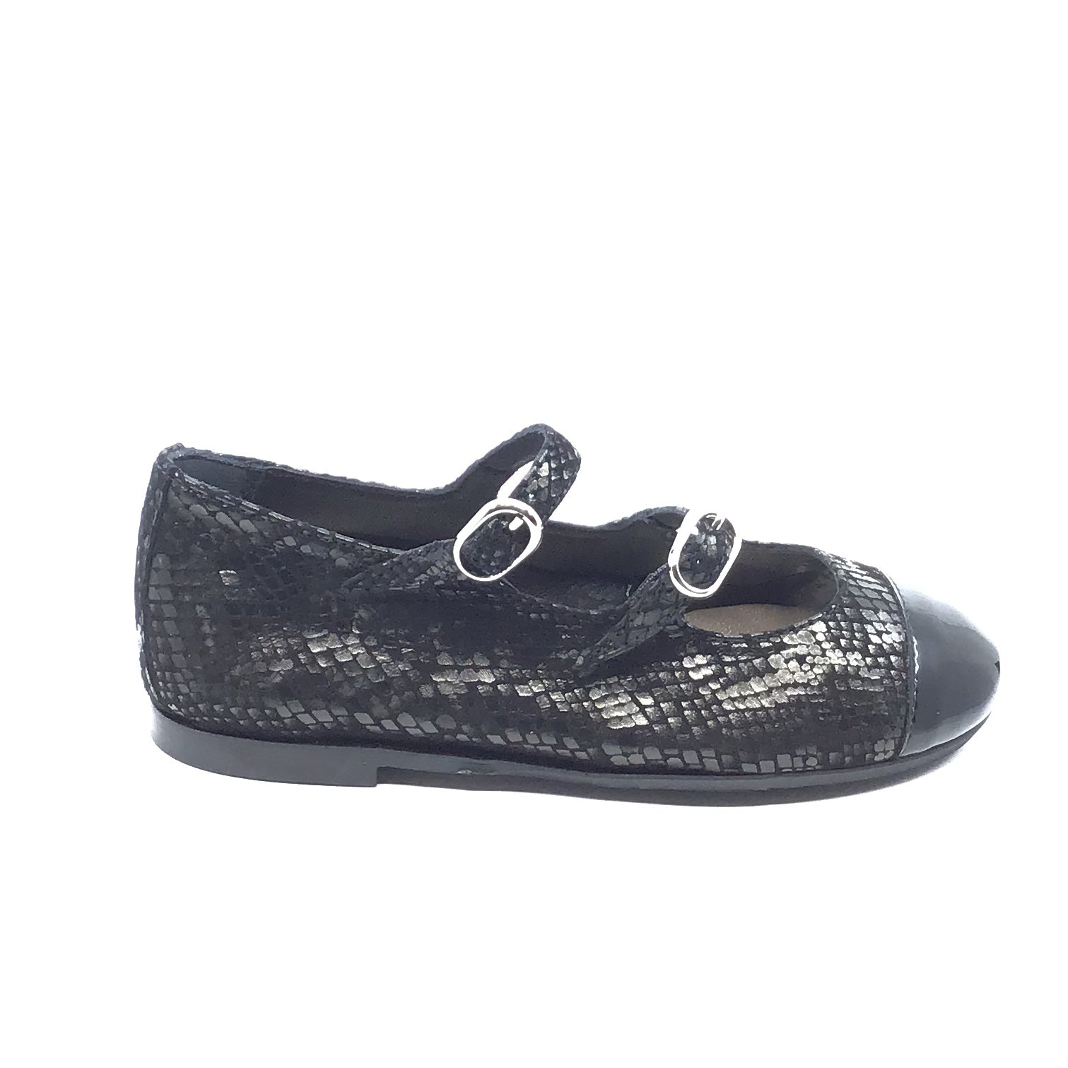 Papanatas Black Print Double Strap With Patent Toe