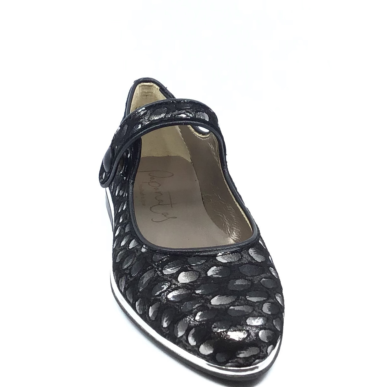 Papanatas Black Print Mary Jane with Silver Border 8221Z