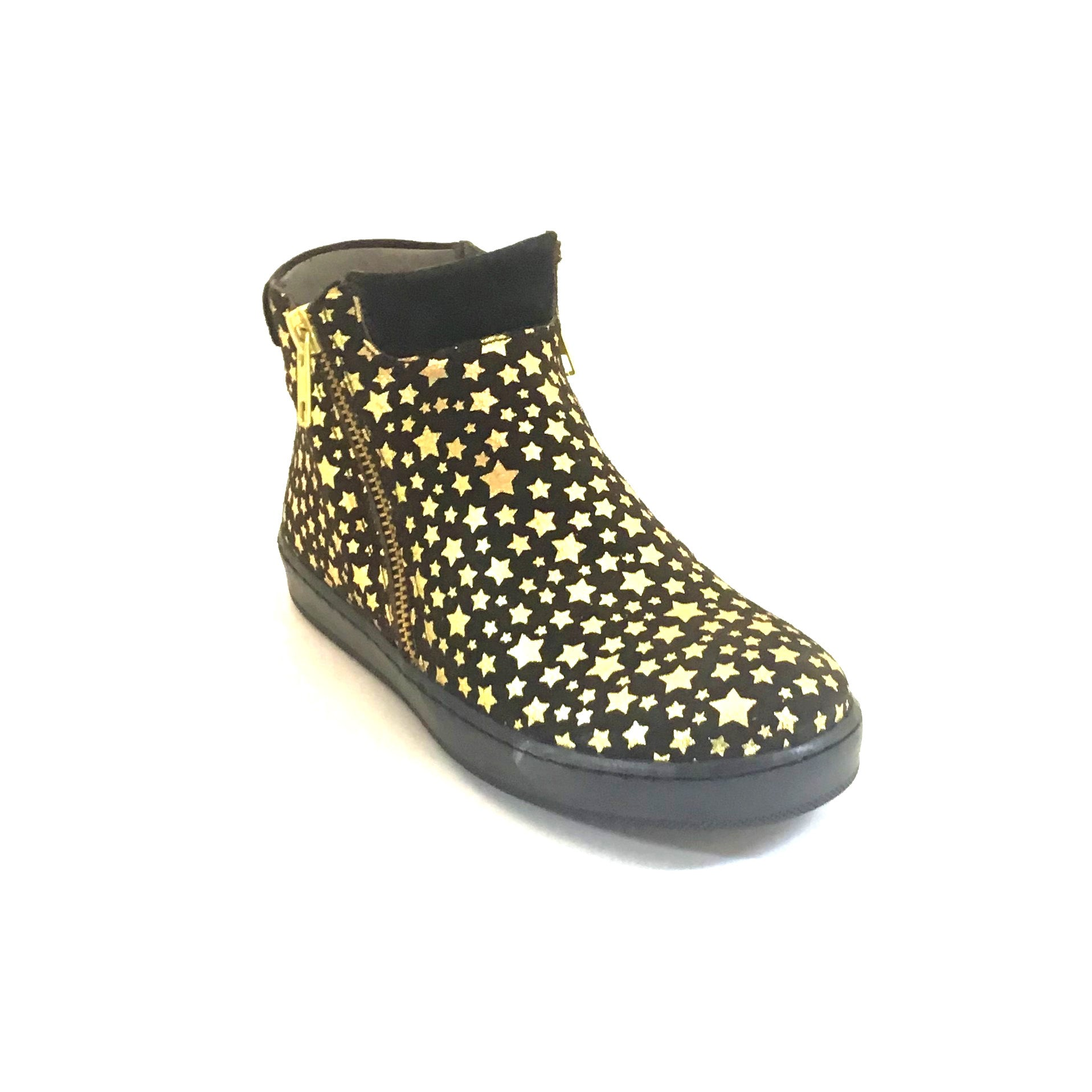 Blublonc Black Slant Zip Bootie With Gold Stars