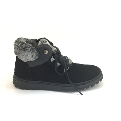 Blublonc Black Bootie With Gray Fur Trim