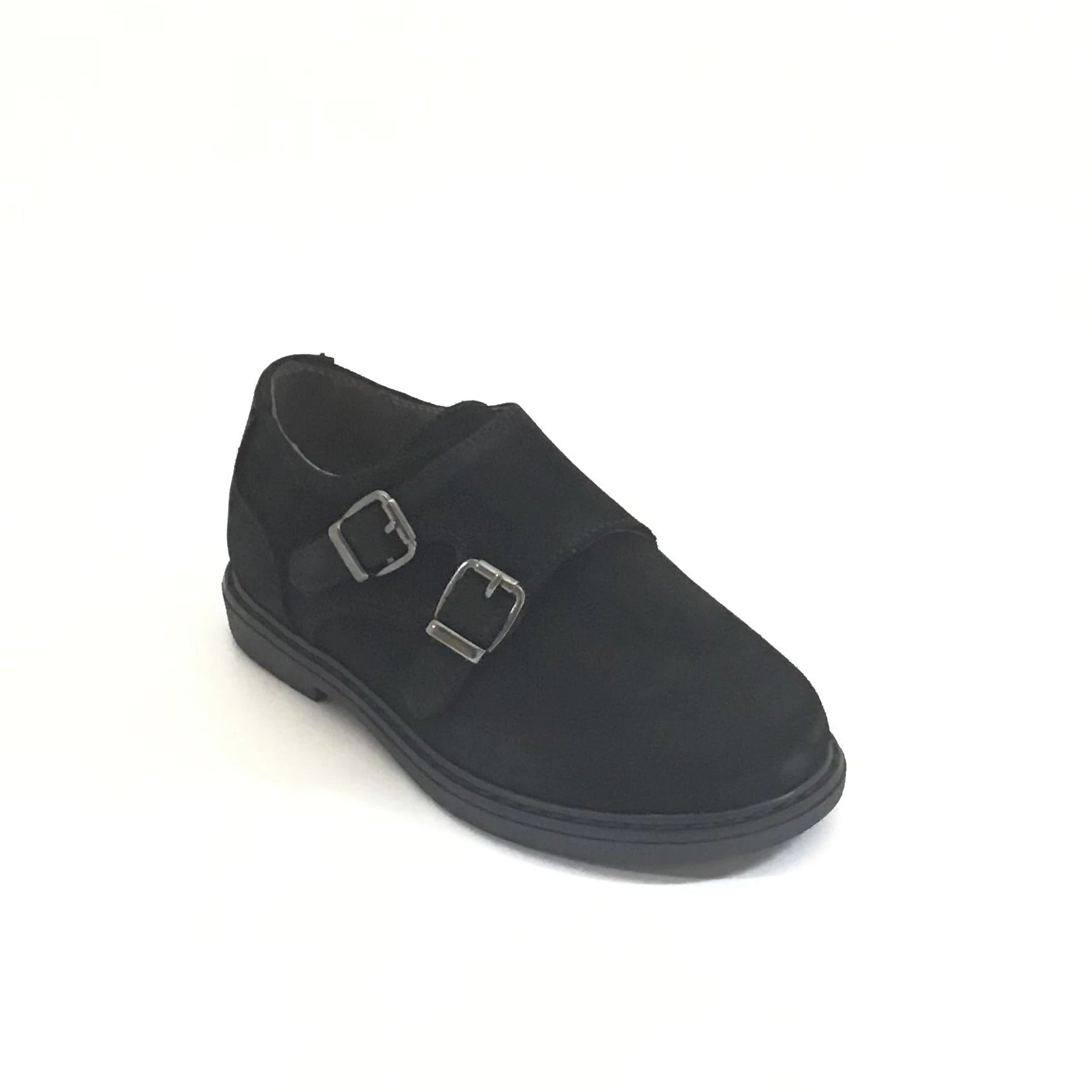 Blublonc Black Suede Double Buckle Velcro