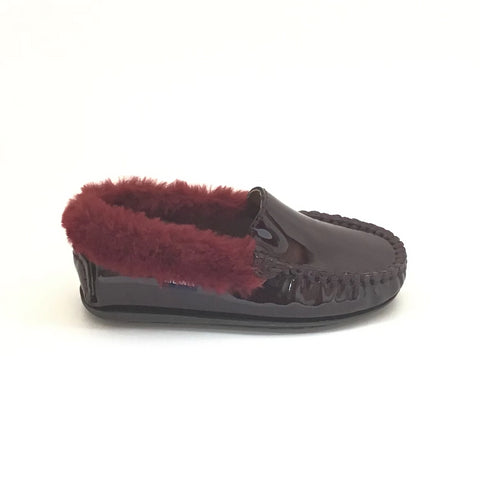Atlanta Mocassin Burgundy Patent Loafer With Burgundy Fur