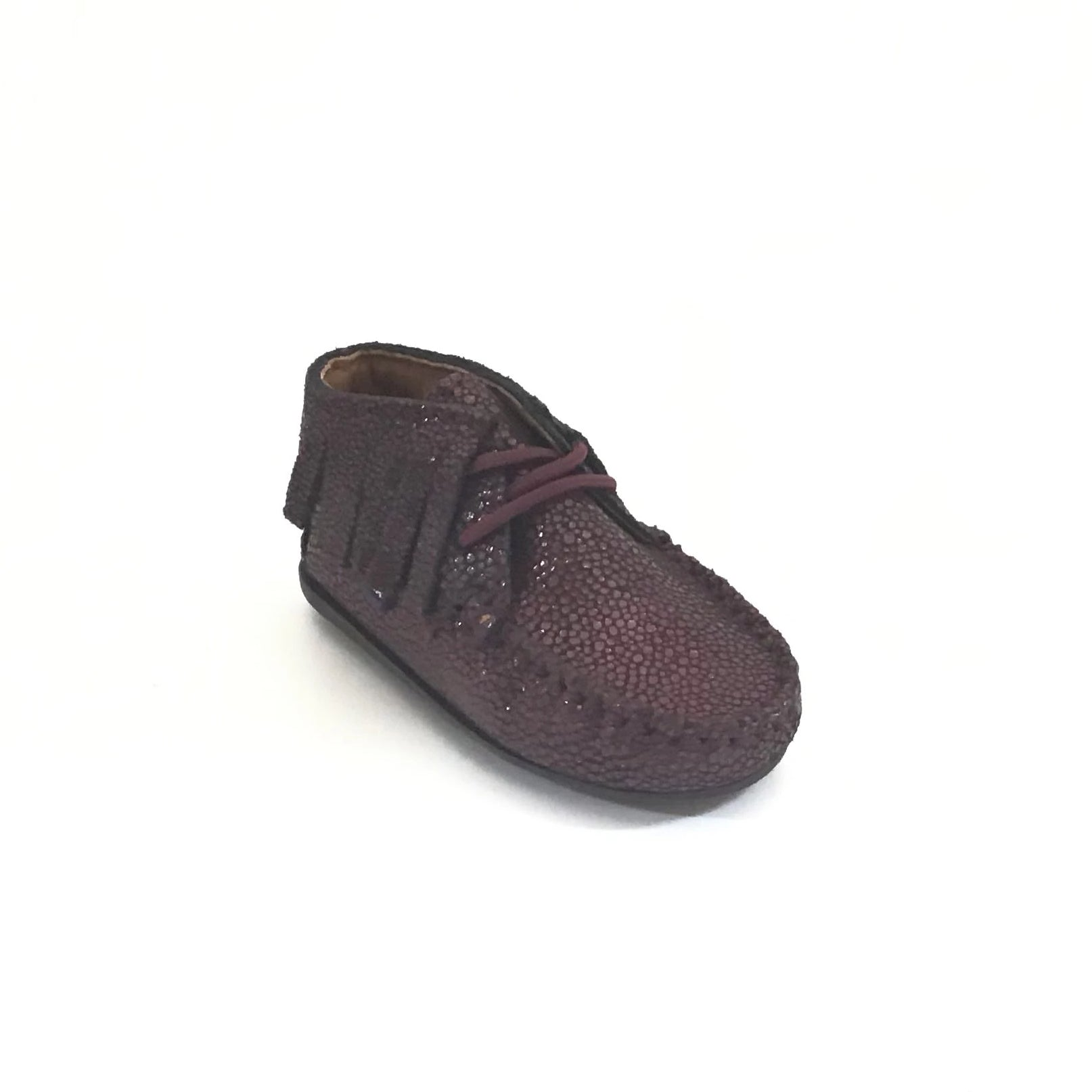 Atlanta Mocassin Wine Fringe Lace Up Mocassin
