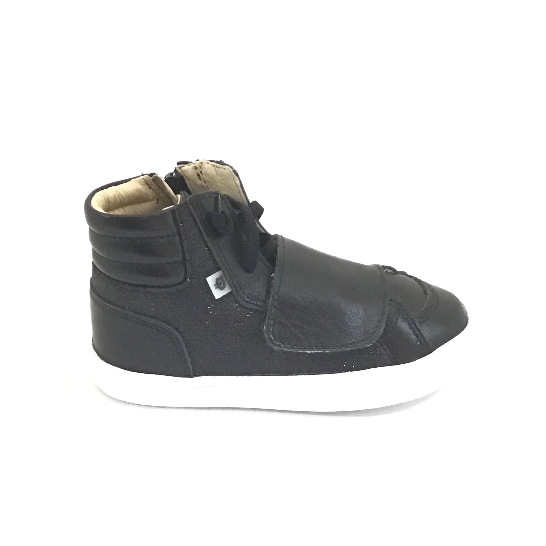 Old Soles Black High Top Sneaker with Velcro Strap and Laces