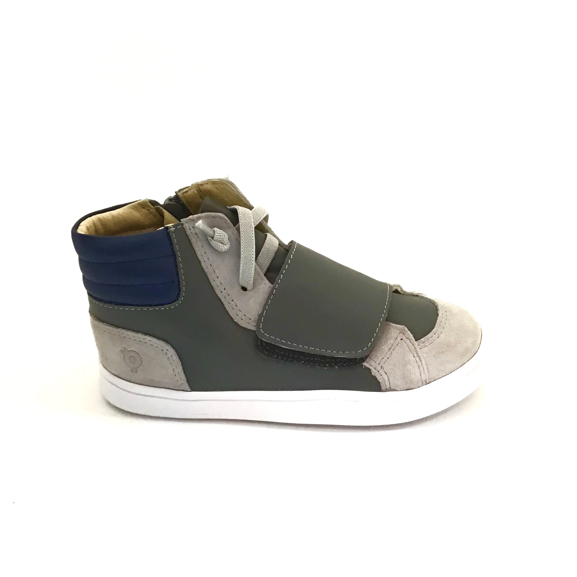 Old Soles Grey High Top Sneaker with Velcro Strap and Laces