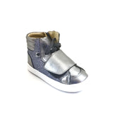 Old Soles Silver High Top Sneaker with Velcro Strap and Laces