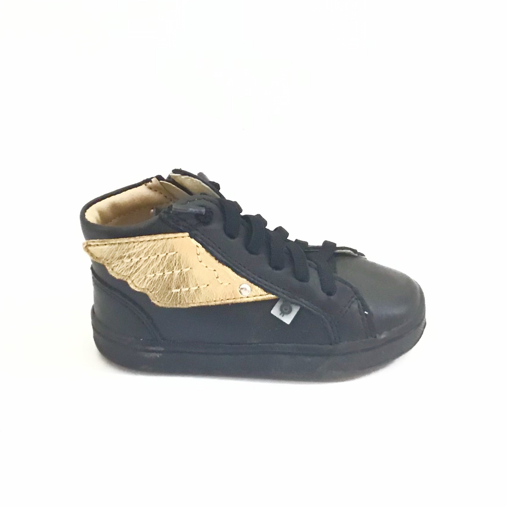 Old Soles Black Sneaker with Gold Wings and Laces