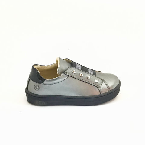 Naturino Gray Sneaker with Gold Studs