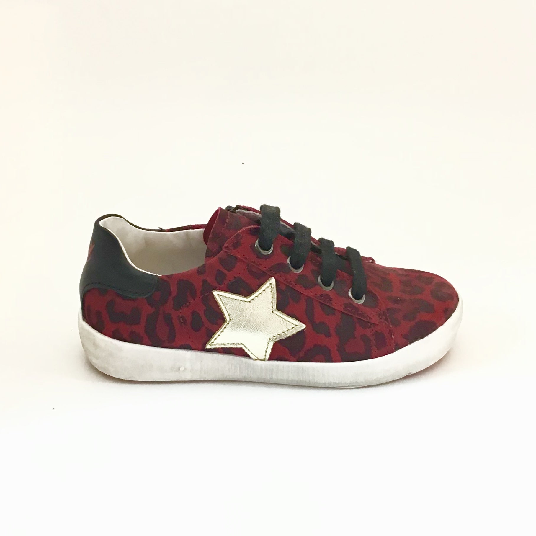 Naturino Red Leopard Print Laced Sneaker with Star