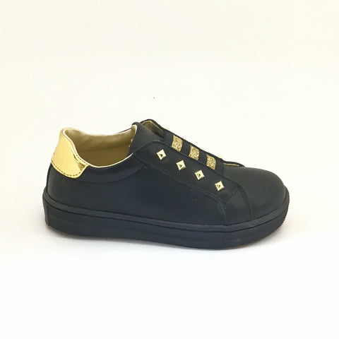 Naturino Black Sneaker with Gold Studs