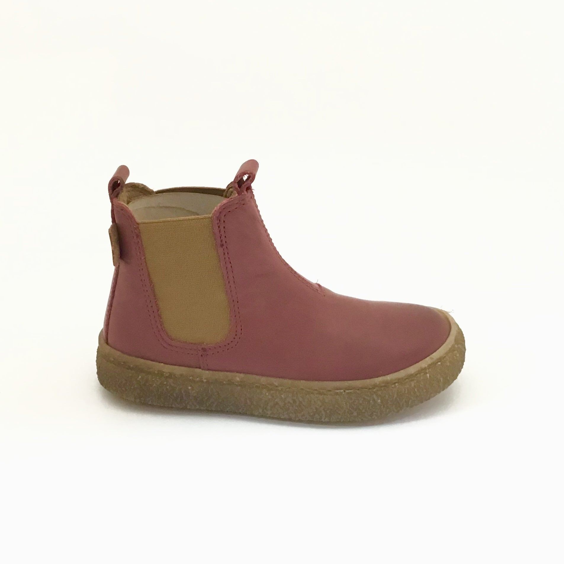 Naturino Burgundy Bootie with Beige Elastic Side Panel