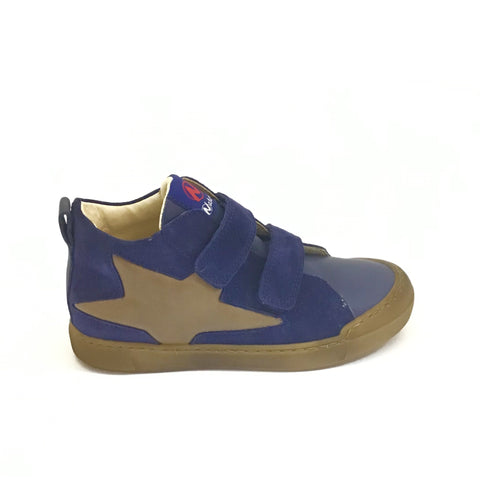 Naturino Navy Velour Sneaker with Tan Star and Double Velcro
