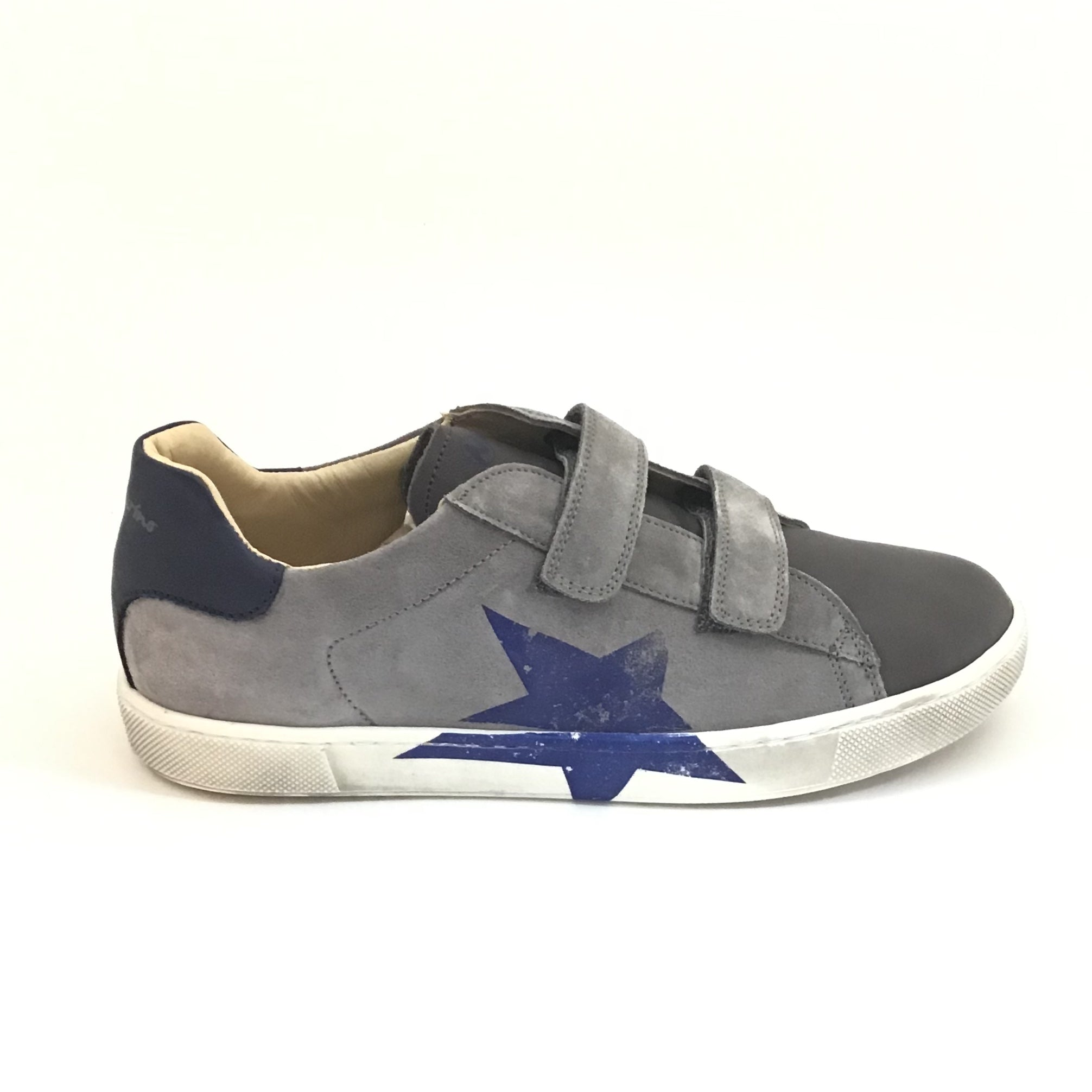Naturino Military Gray Shoe with Blue Star and Double Velcro