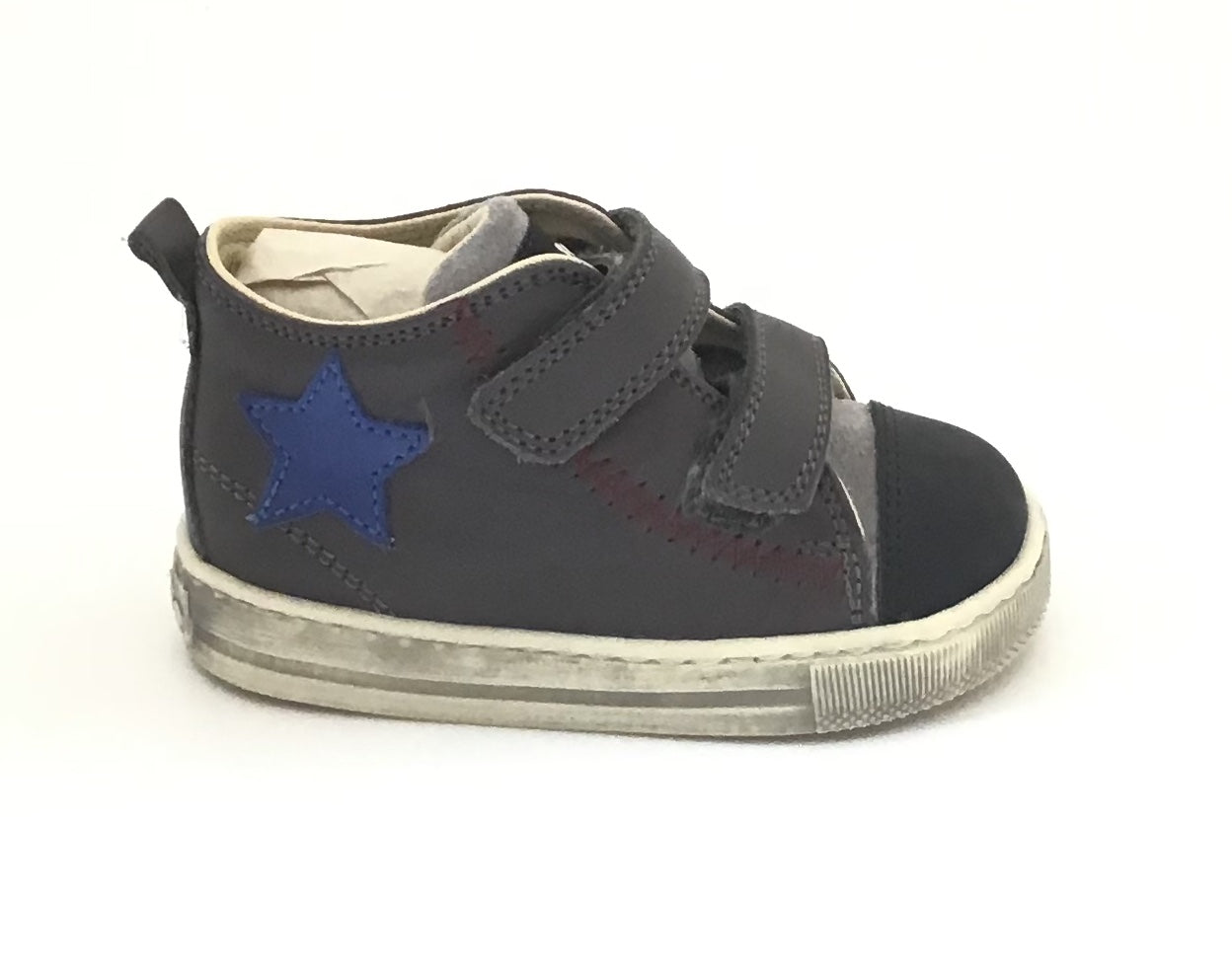 Falcotto Charcoal Sneaker with Blue Star and Double Velcro