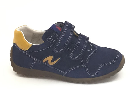 Naturino Navy Velour Sneaker with Double Velcro
