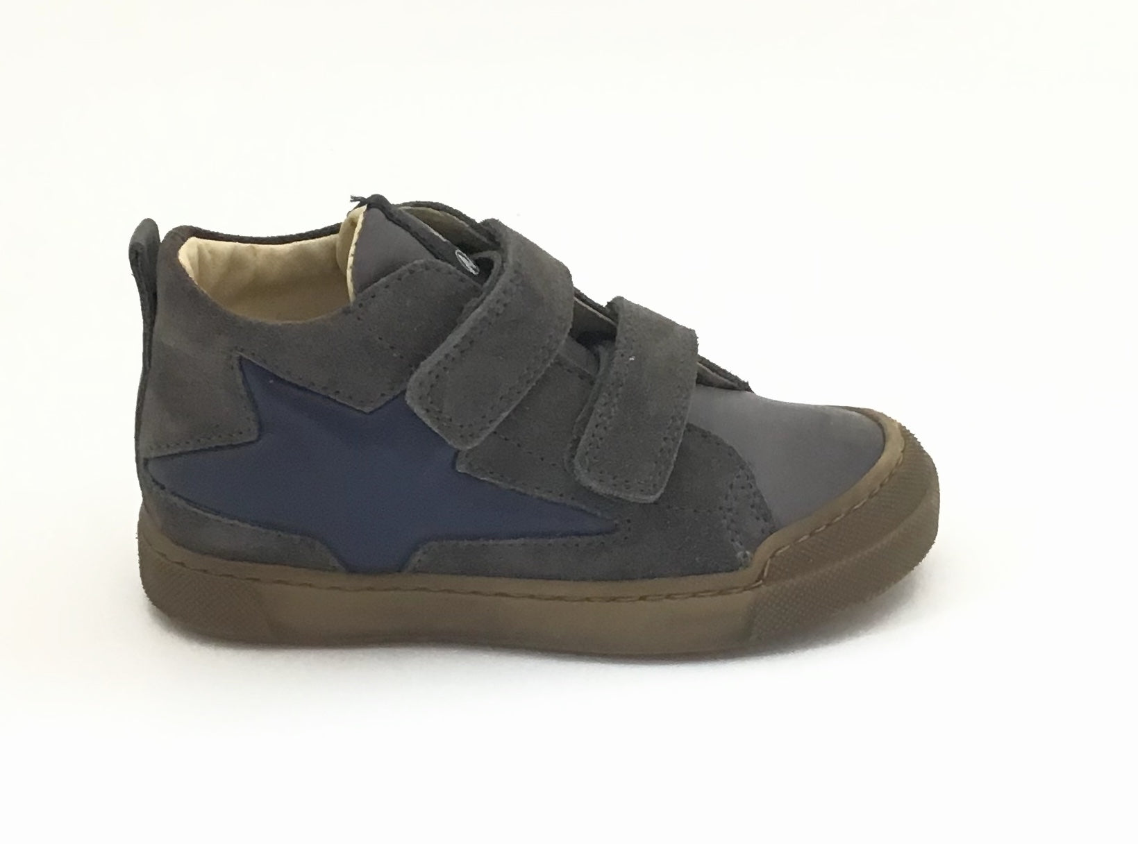 Naturino Charcoal Velour Sneaker with Navy Star and Double Velcro